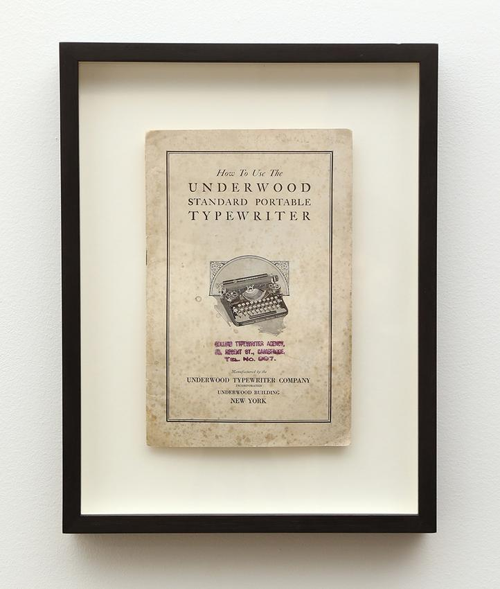 <u>Mon cher monsieur</u><br />2010<br />found typewriter manual, frame<br />13 5/8 x 10 1/2 x 1 1/2 inches (34.5 x 26.5 x 3.9 cm)<br />