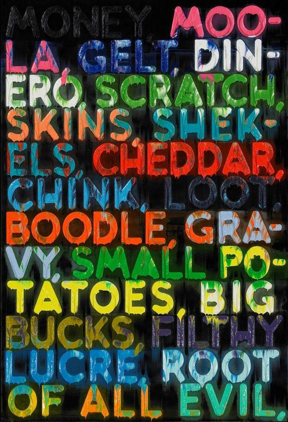 MEL BOCHNER<br /><i>Money</i><br />2012<br />oil on velvet<br />30  x 20 inches (76.2 x 50.8 cm)<br />