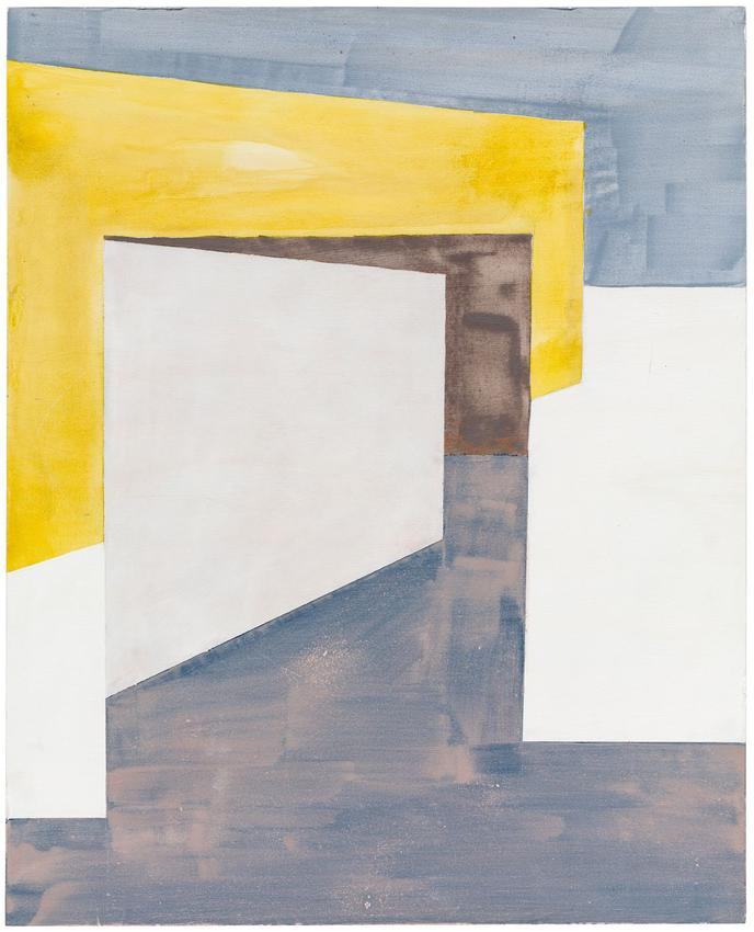 <i>Composition with Yellow Wall</i><br />2012<br />gesso, watercolor, and acrylic on wood<br />26 x 21 inches<br />  (66 x 53.3 cm)<br />