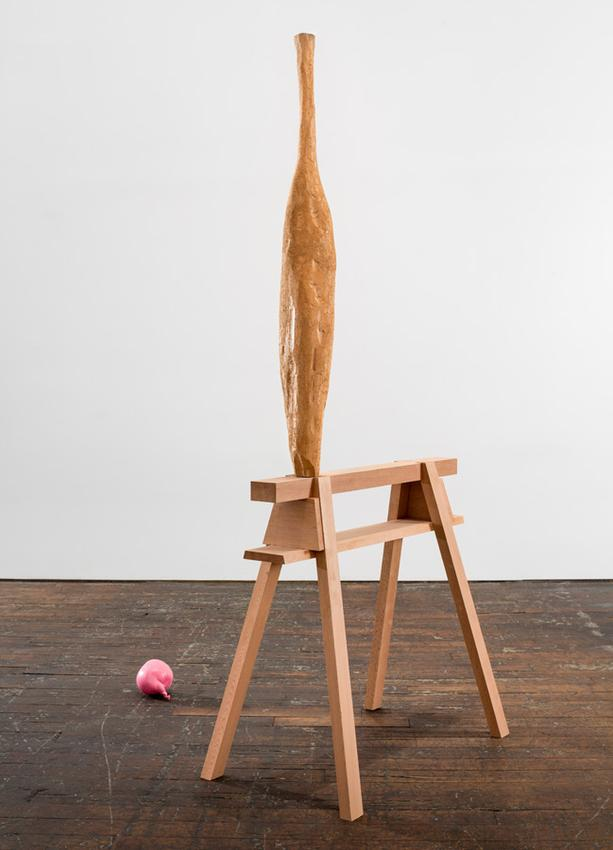 David Adamo<br /><br />Untitled (vessel and balloon)<br />2014-2016<br />western red cedar in two parts and pink acrylic paint on aluminum<br />overall: 70 x 31 1/2 x 43 inches<br />(177.8 x 80 x 109.2 cm)<br />sawhorse: 28 5/8 x 17 1/2 x 28 7/8 inches<br />(72.7 x 44.5 x 73.3 cm)<br />vessel: 41 5/16 x 5 7/8 x 4 3/4 inches<br />(105 x 15 x 12 cm)<br />balloon: 3 15/16 x 6 5/16 x 4 5/16 inches<br />(10 x 16 x 11 cm)<br />PF3397<br />