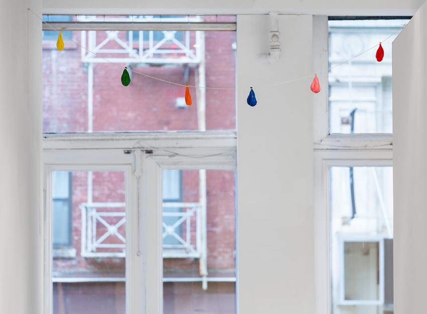 David Adamo<br /><br />Untitled (balloons)<br />2014-2016<br />acrylic paint on aluminum in 6 parts, cotton twine<br />Dimensions range from 5 1/2 x 1 15/16 x  1 15/16 inches (14 x 5 x 5 cm) <br />to 5 1/8 x 2 9/16 x 2 3/8 inches (13 x 6.5 x 6 cm)<br />Installed: 101 ¼ inches (258.4 cm)across <br />PF4058<br />