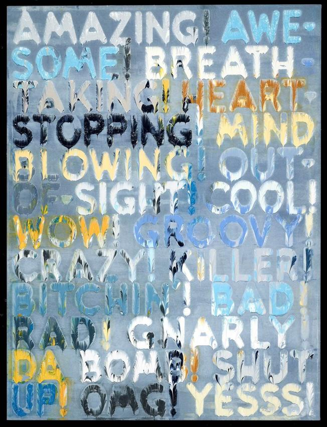 MEL BOCHNER<br /><i>Amazing</i><br />2014<br />oil on velvet<br />30 x 22 1/2 inches (76.2 x 57.2 cm)<br />