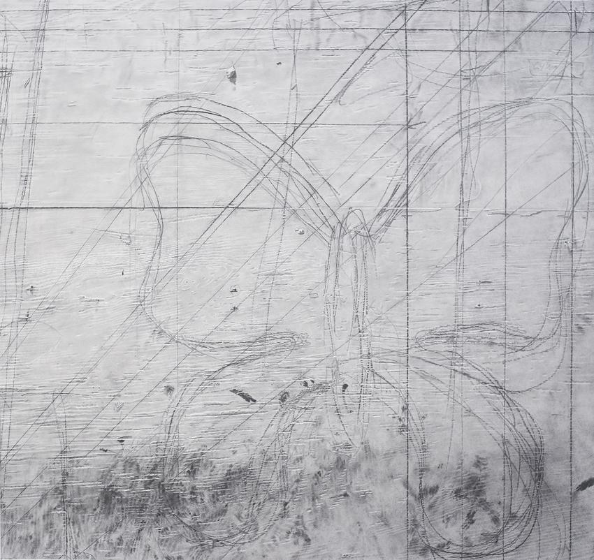 <u>Studio Wall</u><br />2014<br />graphite on paper<br />32 3/8 x 34 3/8 inches (82.2 x 87.3 cm)<br />