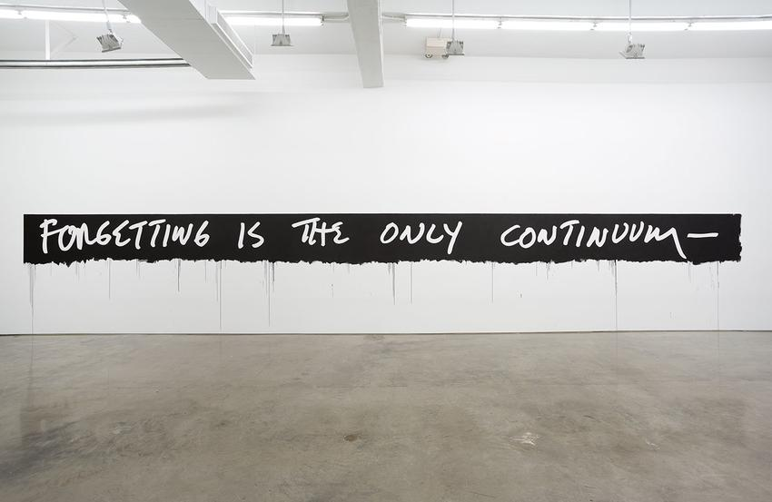 MEL BOCHNER<br /><i>Forgetting is the Only Continuum</i><br />1969 / 2010<br />acrylic on wall<br />dimensions variable<br />Edition of 3<br /><br />Installation: <br /><i>Hello Walls</i><br />26 June - 31 July 2015<br />Gladstone Gallery, NY<br />