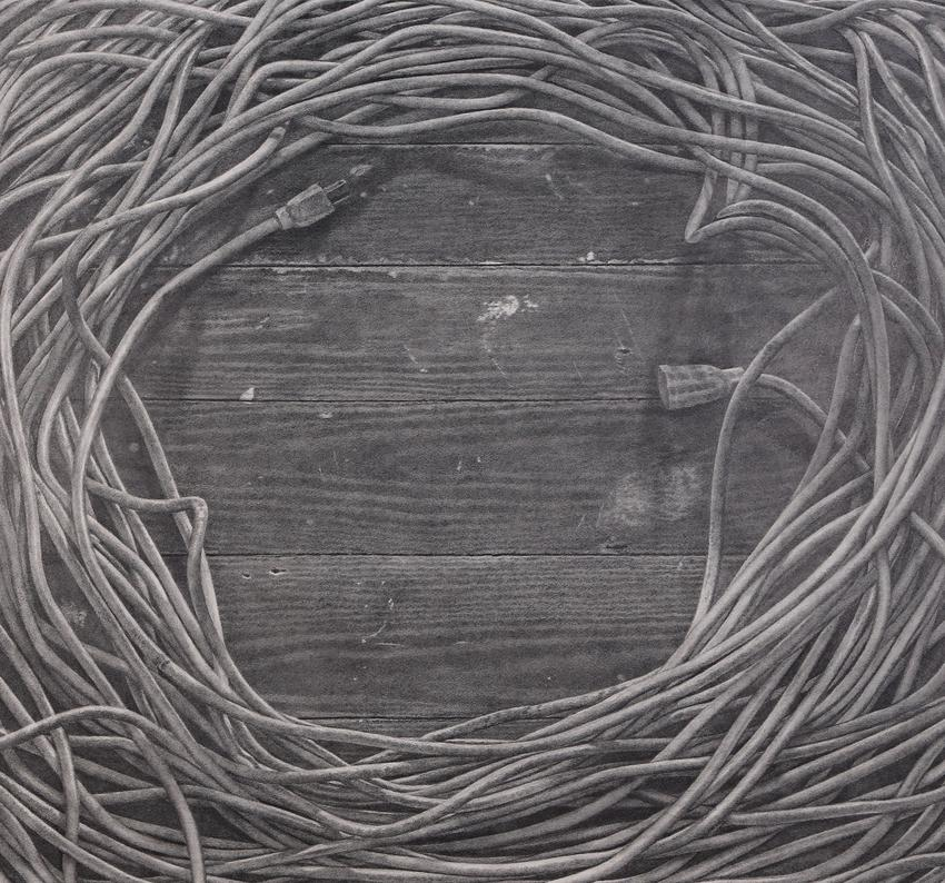 <u>Studio Floor</u><br />2015<br />graphite on paper<br />28 3/4 x 31 3/16 inches (73 x 79.2 cm)<br />