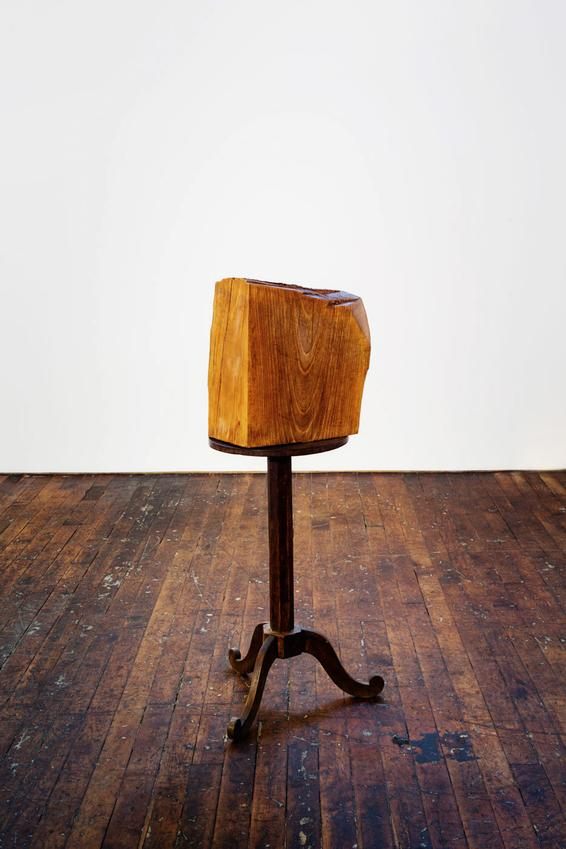 JIMMIE DURHAM<br /><i>Façade That Meets the Eye</i><br />2012<br />wooden table, walnut wood<br />49 1/4 x 25 5/8 x 23 5/8 inches<br />  (125 x 65 x 60 cm)<br />PD3675, JD7854<br />
