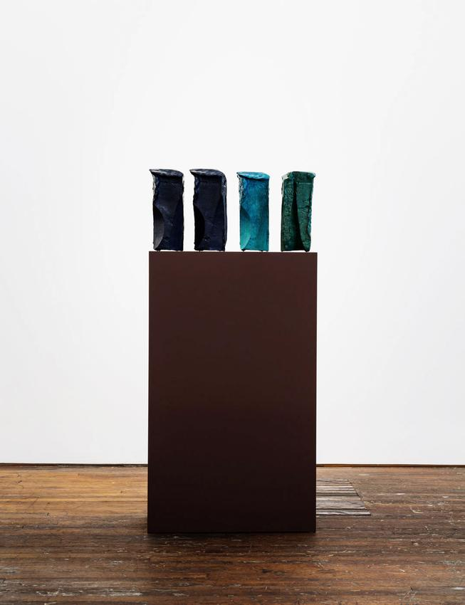 JIMMIE DURHAM<br /><i>The Effect of Gamma Rays on Certain European Plans - Volume IV</i><br />2014<br />set of 4 sculptures - bronze and painted wood<br />51 3/16 x 23 5/8 x 17 3/4 inches<br />  (130 x 60 x 45 cm)<br />PD3676, JD9808<br />