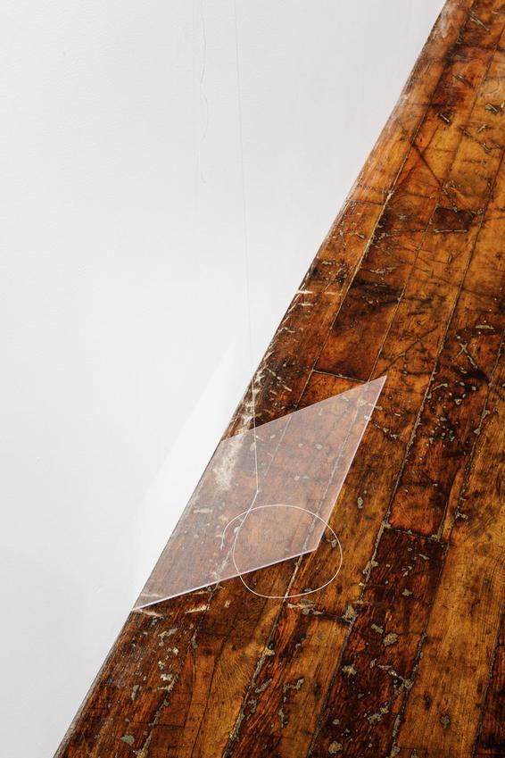 Fernanda Gomes<br /><u>Untitled </u>(detail), 2015<br />nails, plexiglass, linen thread<br />58 3/4 x 11 7/8 x 8 5/8 inches<br />  (149.2 x 30.2 x 21.9 cm)<br />