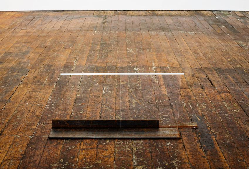 Fernanda Gomes<br /><u>Untitled</u>, 2015<br />steel, plexiglass, wood, paint<br />12 x 1/8 x 30 1/8 x 6 inches<br />  (30.8 x 76.5 x 15.2 cm)<br />