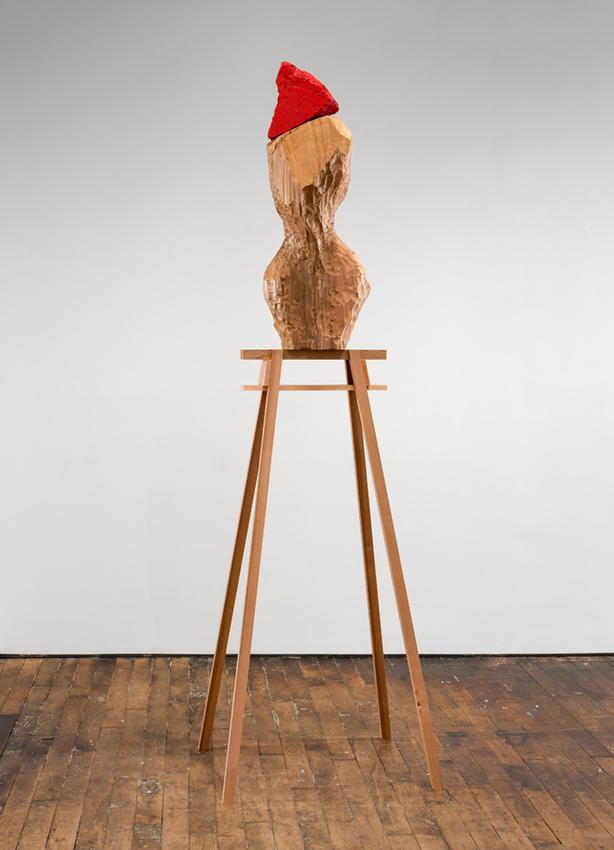 David Adamo<br /><br />Untitled<br />2016<br />western red cedar in two parts, painted white stone<br />overall: 96 x 29 x 22 3/4 inches<br />(243.8 x 73.7 x 57.8 cm)<br />sawhorse: 56 3/4 x 29  x 22 3/4 inches<br />(144 x 73.7 x 57.8 cm)<br />PF4030<br />