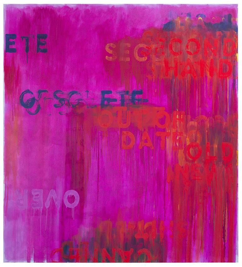MEL BOCHNER<br /><i>Obsolete</i><br />2016<br />oil on canvas<br />88 x 80 inches<br />  (223.5 x 203.2 cm)<br />PF4344<br />