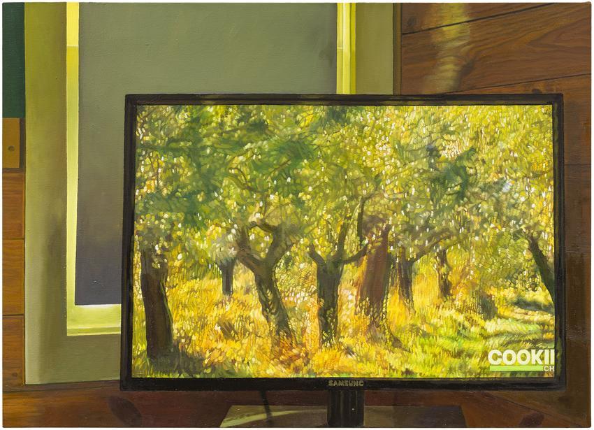 <u>Flat screen</u><br />2016<br />oil on canvas<br />35 1/2 x 49 1/4 inches (90.2 x 125.1 cm)<br />