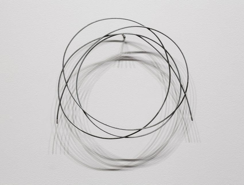 <u>Lives (small)</u>, 2017<br />soldered galvanized cable and steel pin<br />13 1/2 x 12 x 3/8 inches (34.3 x 30.5 x 1 cm)<br />