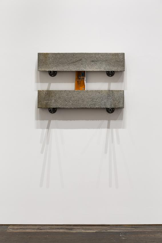 <u>Stasis</u>, 2017<br />pair of concrete lintels, book, soldered galvanized cable, and steel brackets<br />24 1/4 x 36 x 15 1/4 inches (61.6 x 91.4 x 38.7 cm)<br />