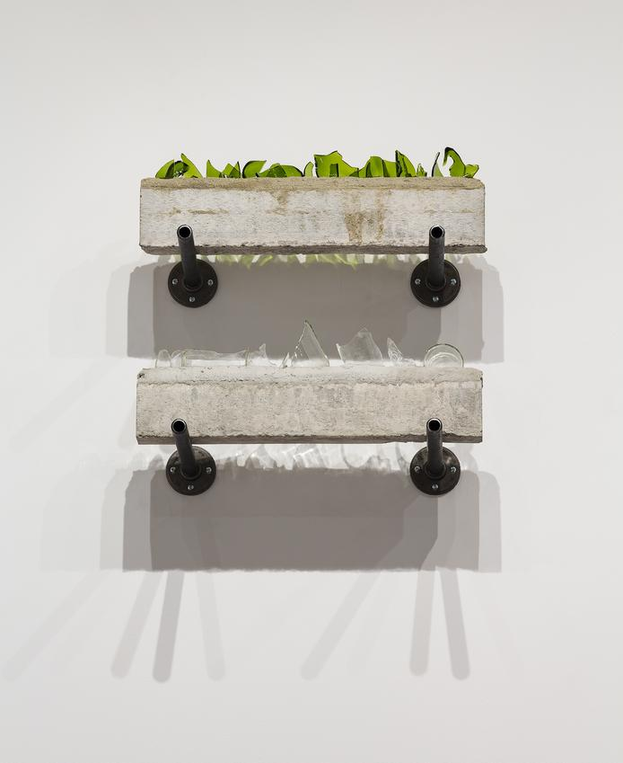 <u>Window (Médoc and Snapple)</u>, 2017<br />pair of concrete lintels, bottle glass, and steel brackets<br />21 x 23 1/2 x 15 1/4 inches (53.3 x 59.7 x 38.7 cm)<br />