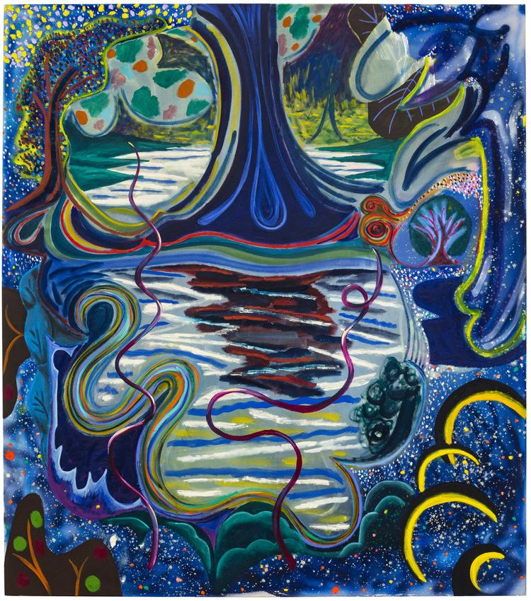 <B>Shara Hughes</B><br /><br /><I>Fancy Fantasy</I><br />2018<br />oil, acrylic and acrylic spray paint on canvas<br />68 x 60 inches<br />  (172.7 x 152.4 cm)<br />PF5115<br />