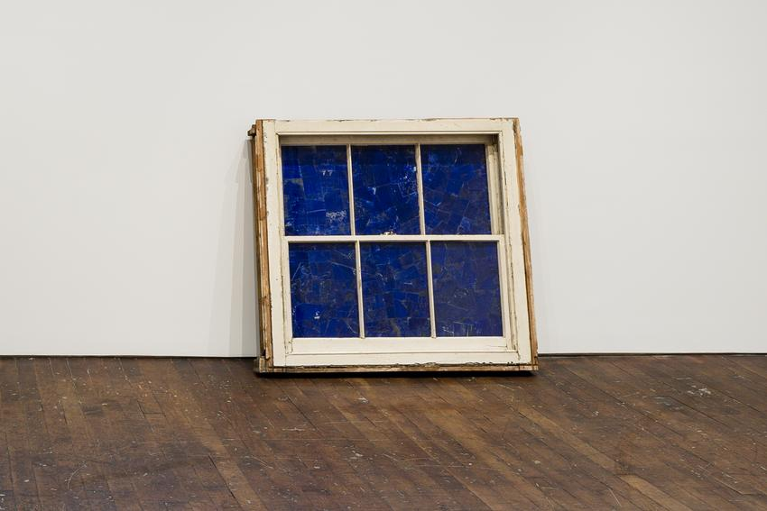 <i>Further Consumption / Blue Window</i><br />2017<br />window frame with lapis lazuli<br />46 1/2 x 51 x 5 3/4 inches<br />  (118.1 x 129.5 x 14.6 cm)<br />PF4591<br />
