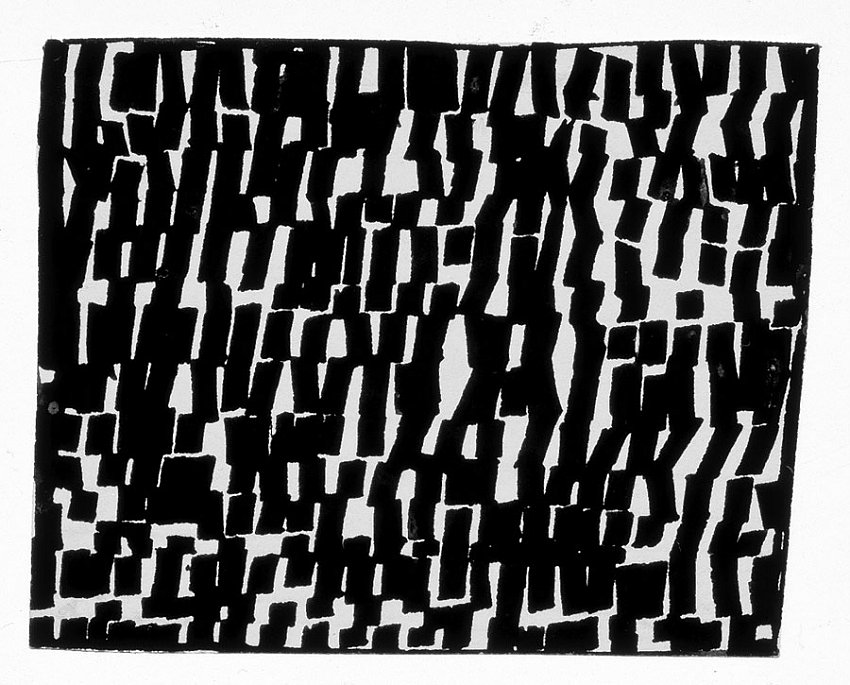 ELLSWORTH KELLY<br />Light Reflection on Water<br />1950<br />ink on paper<br />2-1/4 x 2-7/8 inches (5.715 x 7.302 cm)<br />