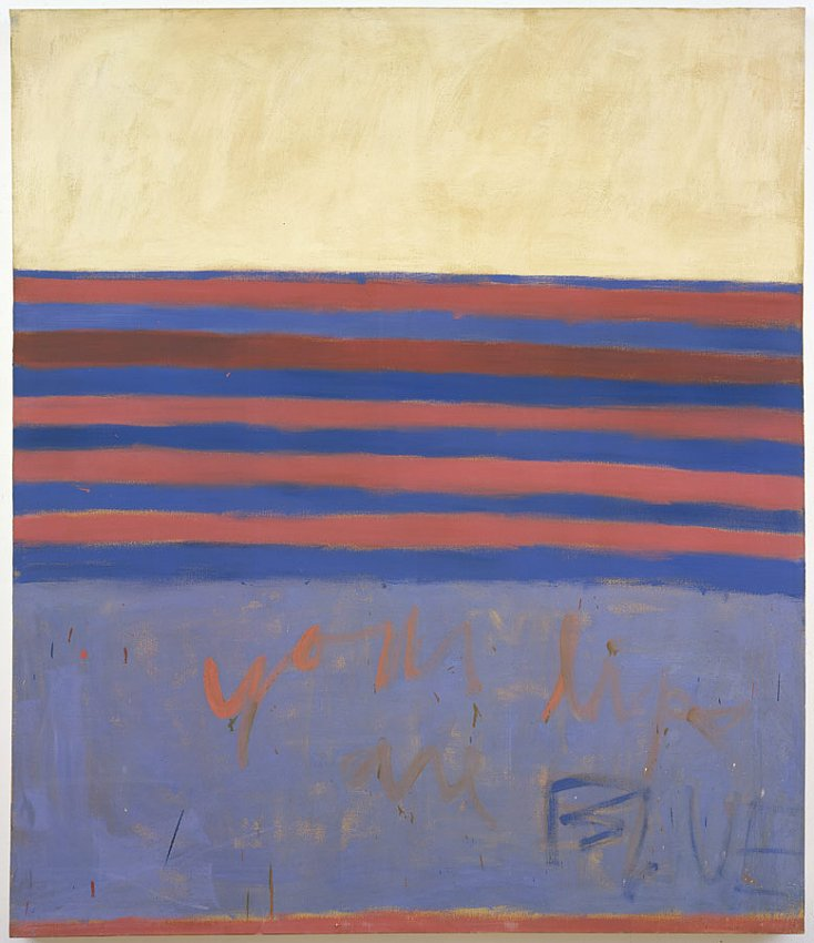 Frank Stella<br />Your Lips Are Blue<br />1958<br />oil on canvas<br />85 1/8 x 73 1/4 inches<br />(216.2 x 186 cm)<br />