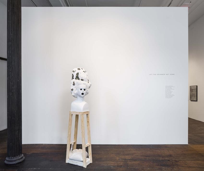 Oliver Jones<br /><i>Pygmalion Reversed</i><br />2017<br />wood, plaster, styrofoam, concrete, paint<br />80 x 24 x 12 inches<br />