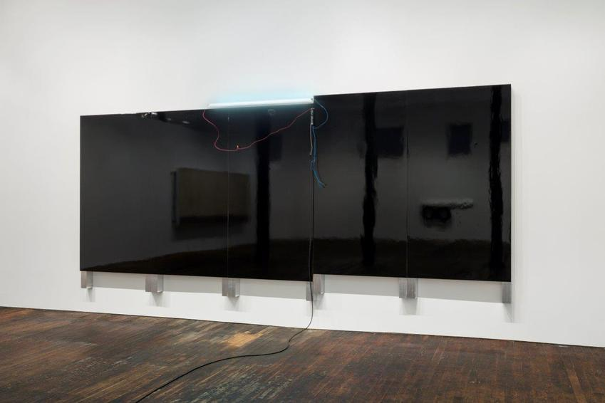 Pedro Cabrita Reis<br /><br />Large Black Painting (New York)<br />2014<br />black auto body paint on marine-grade plywood, aluminum tubing, fluorescent light, electrical ballast, wiring<br />103 x 246 x 4 3/4 inches<br />(262 x 625 x 12 cm)<br />PF3366<br />