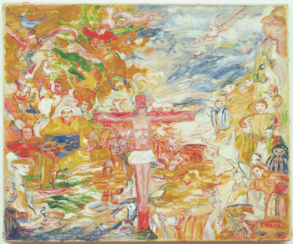 JAMES ENSOR  (1860 - 1949)<br /><i>Le Christ agonisant</i> (Christ in Agony)<br />1939 (1938?)<br />oil on canvas<br />19 7/8 x 24 inches (50.5 x 61 cm)<br />