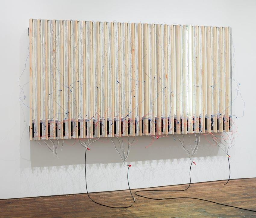 Pedro Cabrita Reis<br /><br />One Left<br />2014<br />enamel on 30 fluorescent lights, wood, aluminum tubing, electrical ballasts, wiring<br />74 3/4 x 143 x 23 inches<br />(190 x 363 x 58 cm)<br />PF3364<br />