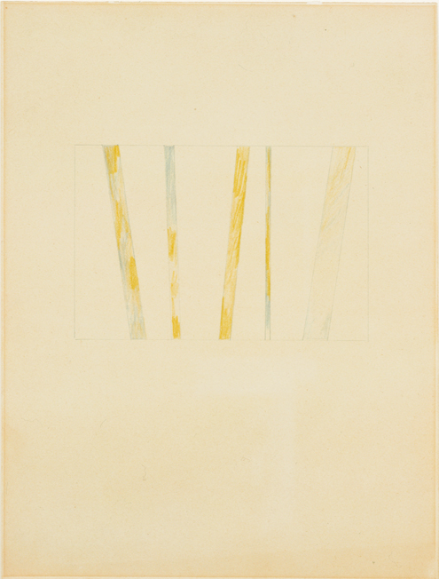 Richard Tuttle<br />No. 49 Stacked Color Series (4)<br />1969<br />graphite and colored pencil on paper<br />12 x 9 inches <br />(30.48 x 22.86 cm)<br />