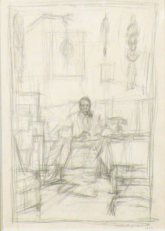 ALBERTO GIACOMETTI  (1901-1966)<br /><i>Portrait de Pierre Loeb</i><br />1950<br />graphite on paper<br />21 x 14 1/2 inches (53.3 x 36.8 cm)<br />Private Collection<br />