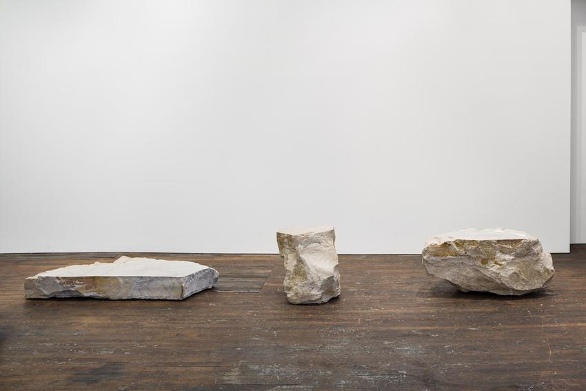 Lucy Skaer <br /><i>American Images</i><br />2014<br />three cut and polished limestone boulders from Lithograph City, Iowa<br />9 1/4 x 70 1/2 x 39 1/2 inches<br />(23.5 x 179 x 100.3 cm)<br />26 x 34 1/2 x 22 1/2 inches<br />(66 x 87.6 x 57.2 cm)<br />24 x 53 x 29 inches<br />(60.9 x 134.6 x 73.7 cm)<br />