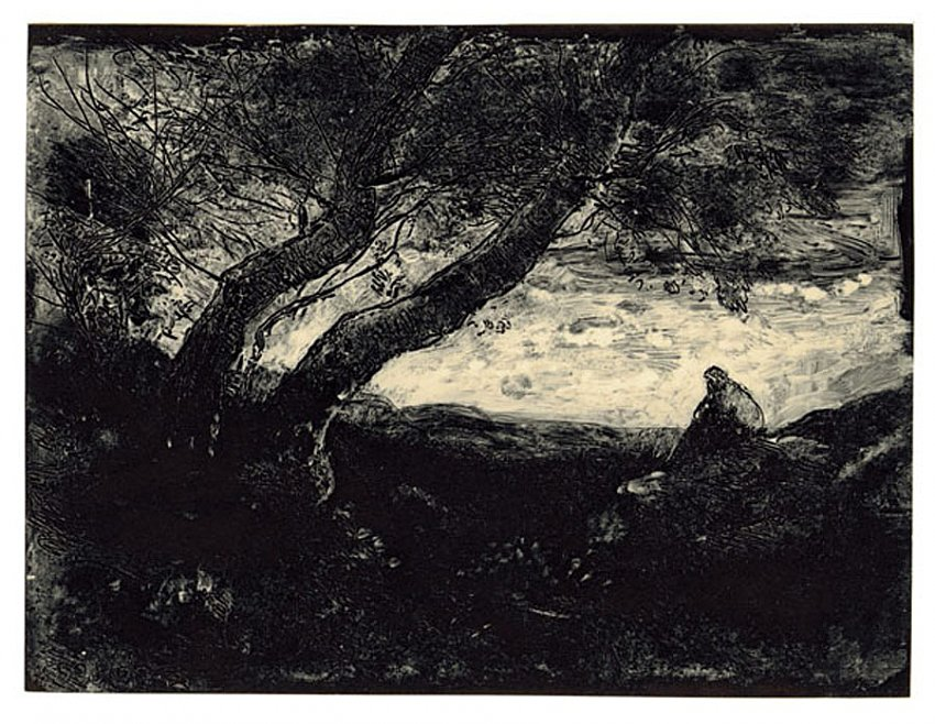 Jean-Baptiste-Camille Corot<br />Le Songeur<br />1854<br />carbon print<br />5 7/8 x 7 3/4 inches<br />14.9 x 19.8 cm<br />