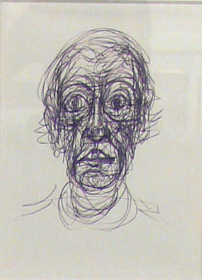 Alberto Giacometti<br />Tête de Diego<br />1965<br />graphite and ink on paper<br />8 x 6 inches (20.3 x 15.2 cm) <br />Private Collection<br />