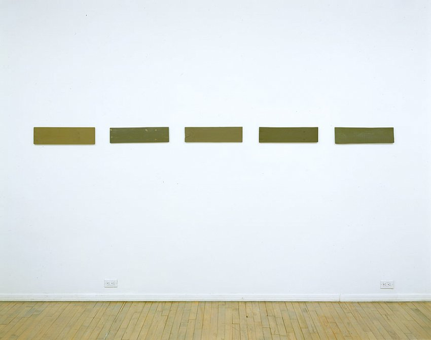 Helen Mirra<br />Same third, third fir, Dead third, Third means, Katagiri third<br />2003<br />milk paint and putty on wood<br />dimensions to be determined upon installation<br />5 3/4 x 123 x 5/8 inches <br />(14 x 53.3 x 1.6 cm)<br />