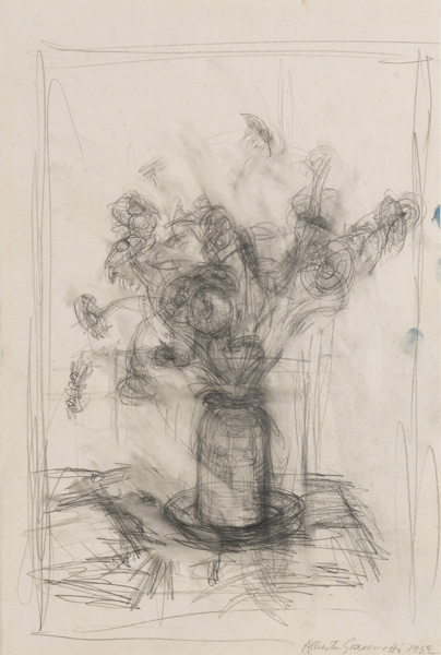 Alberto Giacometti<br />Fleurs<br />1952<br />graphite on paper<br />20 x 13 3/8 inches (50.8 x 34 cm) <br />Private Collection<br />