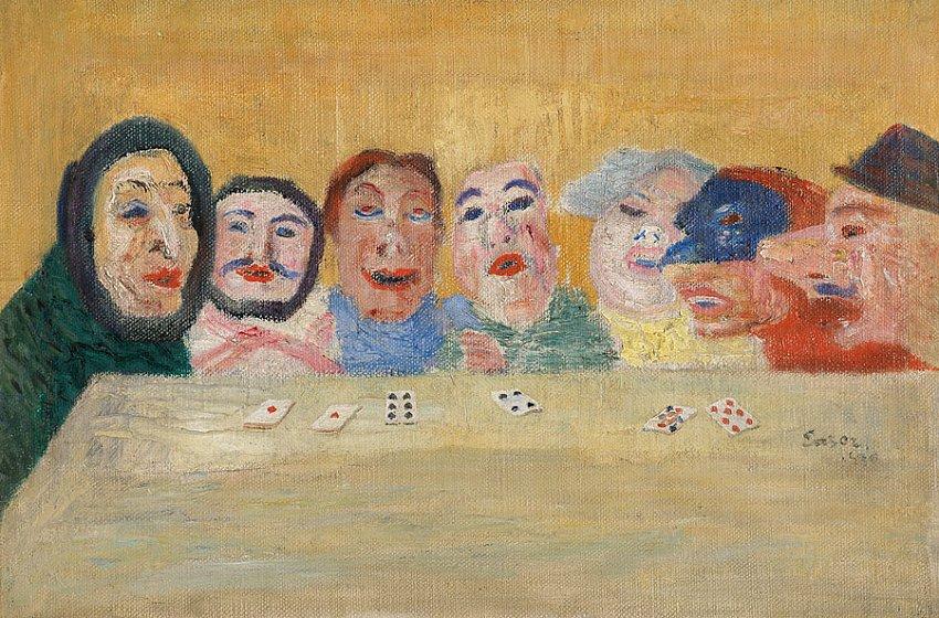 Masques regardant un jeu des cartes (Masks Looking at Playing Cards) <br />1896<br />oil on canvas<br />27 x 41 cm<br />