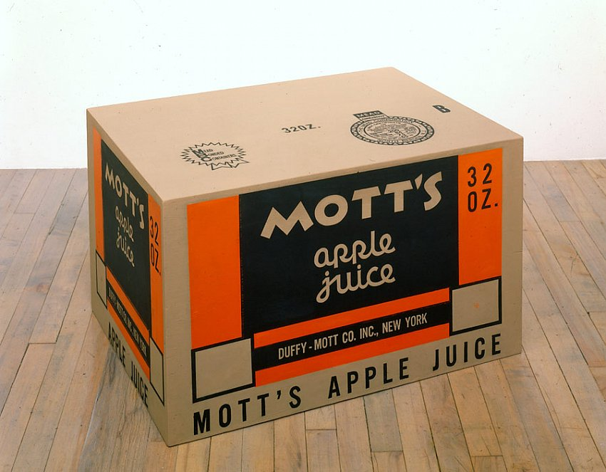 "Andy Warhol<br />Mott""s Apple Juice Box<br />1964<br />silkscreen ink and paint on wood<br />18 x 30 x 21 1/2 inches<br />(45.7 x 76.2 x 54.6 cm)<br />"
