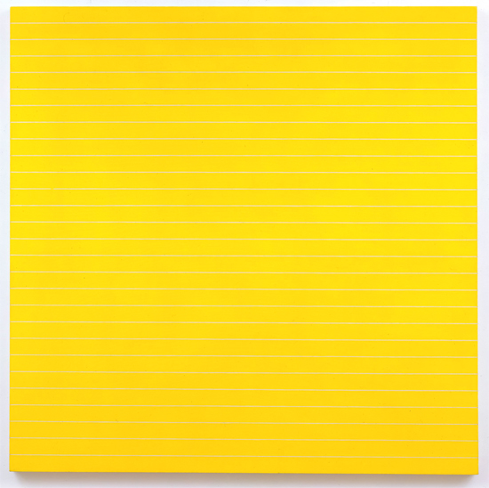 FRANK STELLA<br /><i>Palmito Ranch</i><br />1961<br />alkyd on canvas<br />77 1/4 x 77 1/4 inches (196.2 x 196.2 cm)<br />