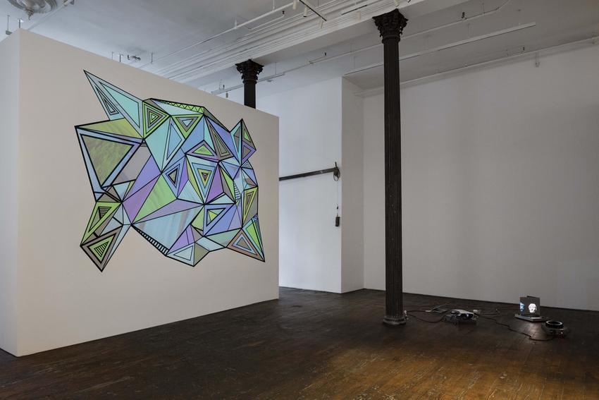 Gocha Tsinadze<br /><i>Planar Prismatic</i><br />2017<br />tape, custom video projection on wall<br />dimensions varied by installation<br />