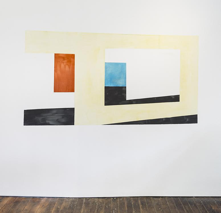 ERNST CARAMELLE<br />Untitled<br />2015<br />pigments, water on wall<br />site specific<br />43 1/4 x 85 1/2 inches<br />  (110 x 217 cm)<br />