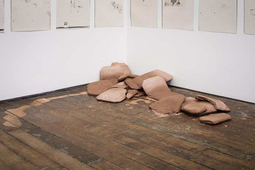 Lucy Skaer<br /><i>Untitled</i><br />2015<br />unfired stoneware<br />dimensions variable<br />
