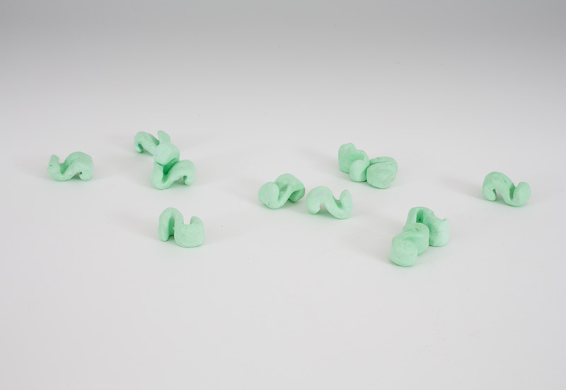 David Adamo<br /><br />Untitled (12 packing peanuts)<br />2014<br />painted cast plaster<br />dimensions variable<br />Each approximately 3/4 x 3/4 x 1 3/8 inches (1.9 x 1.9 x 3.5 cm)<br />PF3496<br />
