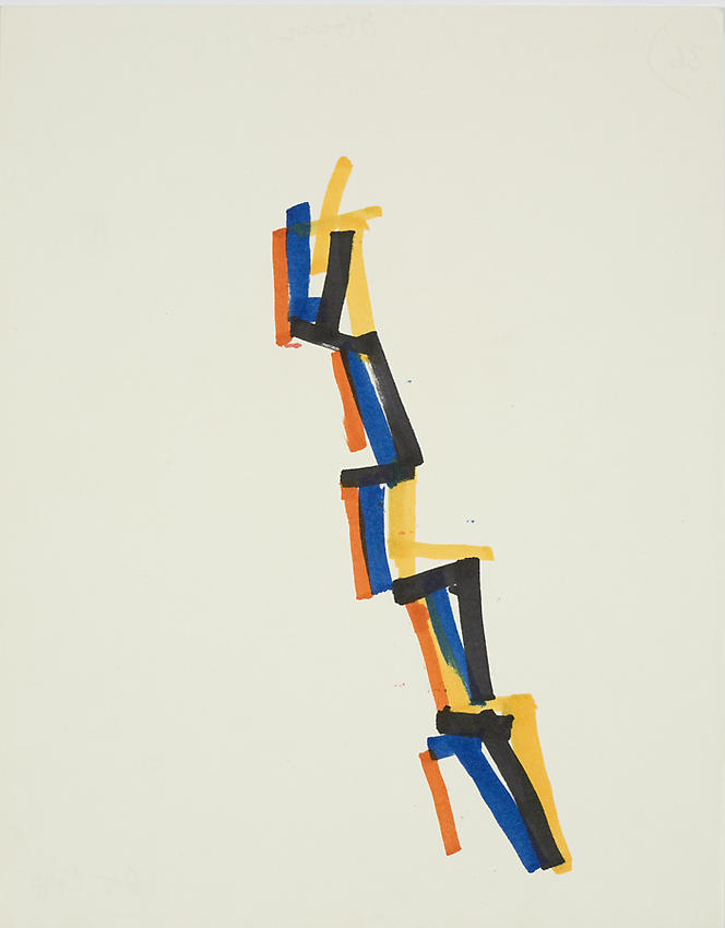 CHARLOTTE POSENENSKE<br /><i>Streifenbild</i> (Striped Picture)<br />1965<br />plakapaint on paper<br />10 1/2 x 8 1/4 inches (26.6 x 20.9 cm)<br />