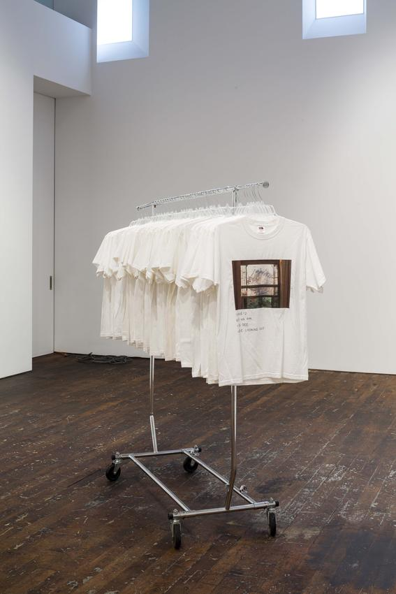 Nicholas Knight<br /><i>Re: Regarding Photography</i><br />2012-2013<br />iron-on inkjet transfer and fabric ink on 40 t-shirts, on rolling garment rack<br />60 x 50 x 24 inches<br />