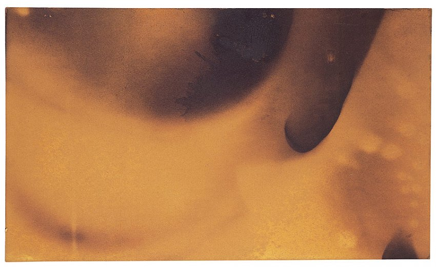YVES KLEIN<br />Fire Painting, Untitled (F-113)<br />1961<br />burnt cardboard<br />13-1/2 x 22-1/2 inches (34.29 x 57.15 cm)<br />