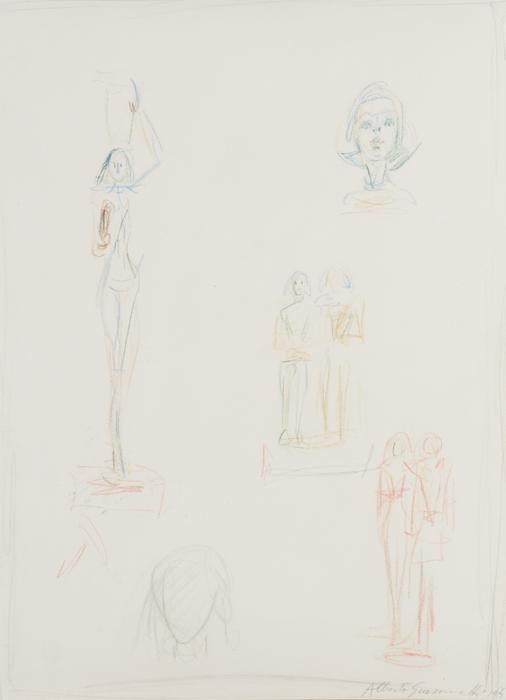 Alberto Giacometti<br />Une page d'esquisse pour les sculptures<br />1959<br />colored pencil and graphite on paper<br />14 1/2 x 10 1/2 inches (36.8 x 26.7 cm)<br />