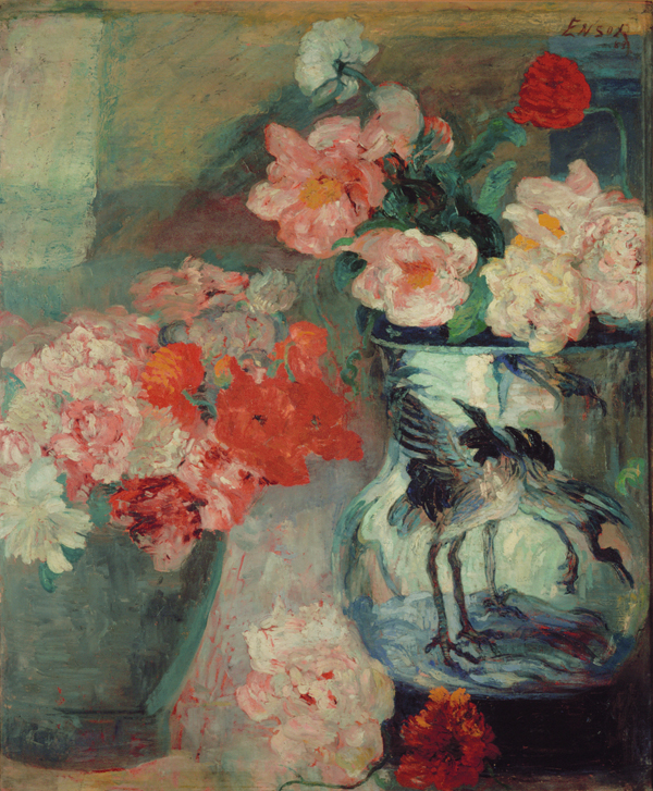 JAMES ENSOR  (1860 - 1949)<br /><i>Pivoines et pavots</i> (Peonies and Poppies)<br />1883<br />oil on canvas<br />54 x 44 3/8 inches (137 x 112.5 cm)<br />