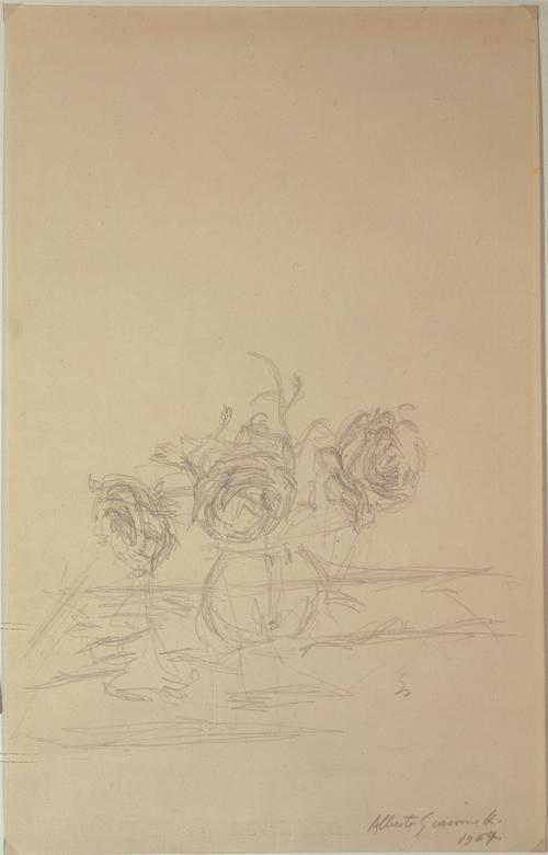 ALBERTO GIACOMETTI  (1901-1966)<br /><i>Vase de fleurs</i><br />1964<br />graphite on paper<br />19 5/8 x 12 3/4 inches (49.85 x 32.39 cm)<br />