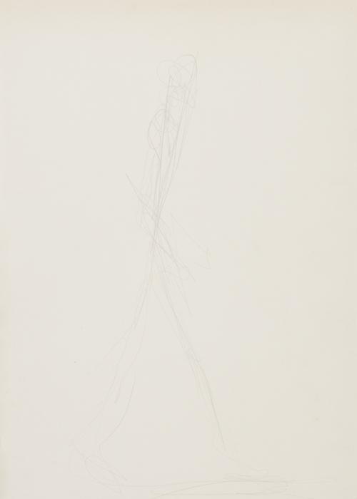 Alberto Giacometti<br />L'homme qui marche<br />n.d.<br />graphite on paper<br />18 7/8 x 13 inches (48 x 33 cm)<br />