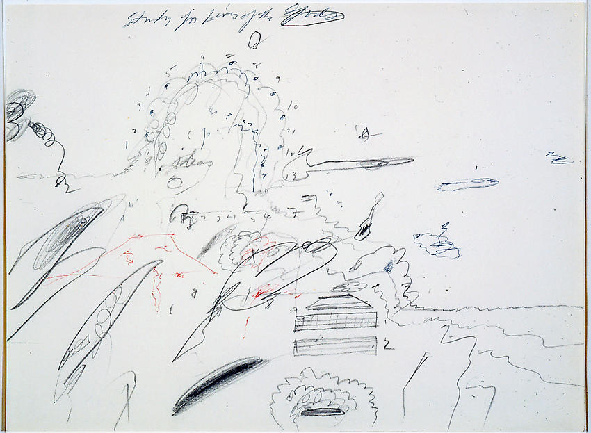 CY TWOMBLY     (1928 - 2011)   <br /><i>Study for 'Lives of the Gods'</i><br />1961<br />pencil and ballpoint pen ink on paper<br />9 3/16 x 12 3/8 inches (23.3 x 31.3 cm)<br />