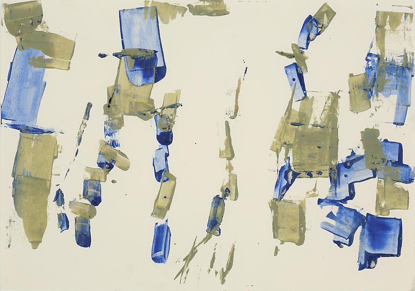 Charlotte Posenenske<br />Bretagne, c. 1960<br />acrylic on paper<br />9 1/2 x 15 3/4 inches<br />